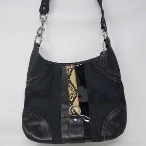 Coach Black Leather Snakeskin Women's Handbag